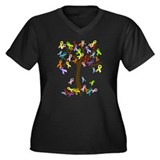 Ribbon Tree Women's Plus Size V-Neck Dark T-Shirt