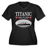 Titanic Ghost Ship (white) Women's Plus Size V-Nec