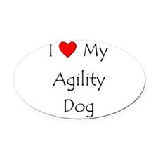 I Love My Agility Dog Oval Car Magnet
