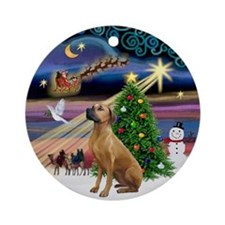Xmas Magic & Rhodesian Ridgeback Ornament (Round)