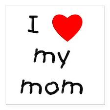 "lovemymom.png Square Car Magnet 3"" x 3"""