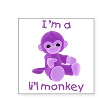 "imalilmonkey-purple.png Square Sticker 3"" x 3"""