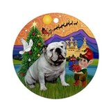 Xmas Fantasy & English Bulldog Ornament (Round)