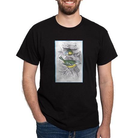 Blue Titmouse Bird (Front) Black T-Shirt