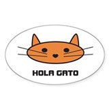 hola gato Oval Decal