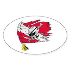 Red Dive Flag Skull Oval Decal