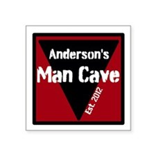 "Personalized Man Cave Square Sticker 3"" x 3"""
