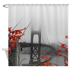 Golden Gate Bridge with Orange Shower Curtain