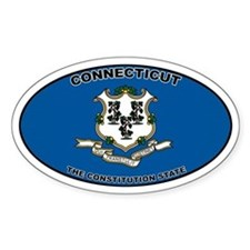 CT State Flag Oval Decal