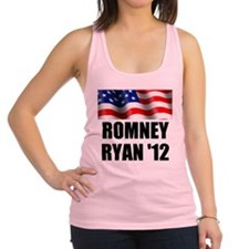 Romney Ryan 12, Waving Flag Racerback Tank Top