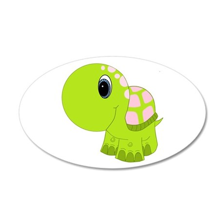 Pink and Green Baby Turtle 35x21 Oval Wall Decal