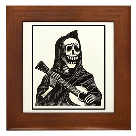 Calavera with Guitar Framed Tile