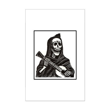 Calavera with Guitar Mini Poster Print
