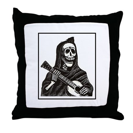 Calavera with Guitar Throw Pillow