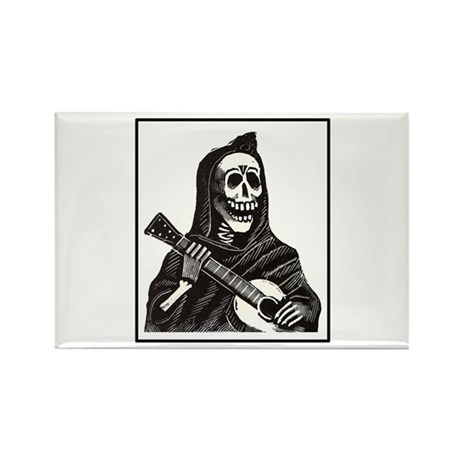 Calavera with Guitar Rectangle Magnet