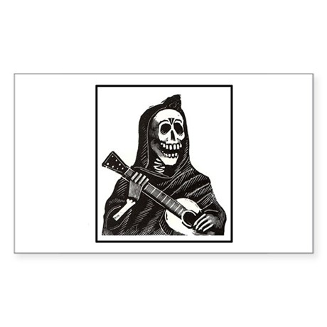 Calavera with Guitar Rectangle Sticker