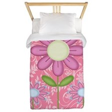 Pink Flower and Butterfly Twin Duvet