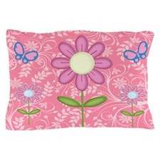 Pink Flower and Butterfly Pillow Case