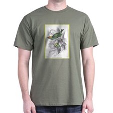 Gold Crest Bird (Front) Black T-Shirt