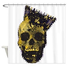 Yellow Skull and Crown Shower Curtain