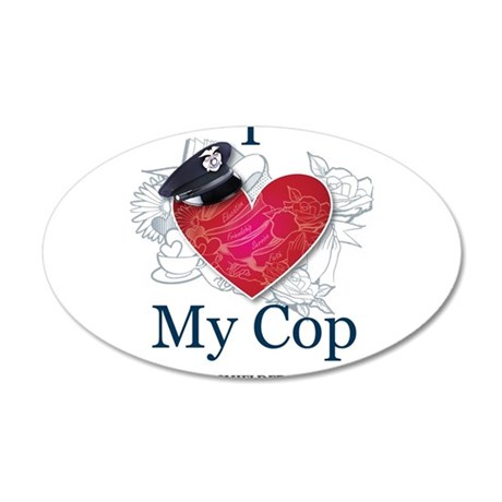I Love My Cop 20x12 Oval Wall Decal