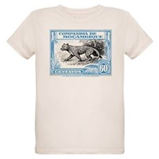 1930's Mozambique Leopard Stamp Blue T-Shirt