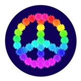 Rainbow Flower Peace Sign Round Car Magnet
