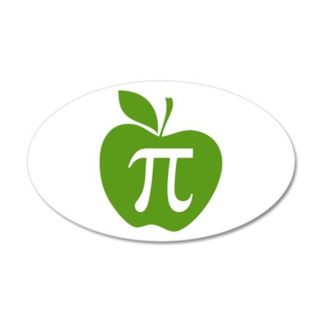 Green Apple Pi Math Humor 20x12 Oval Wall Decal