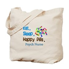 Eat Sleep Happy Pills blue brown LARGE.PNG Tote Ba