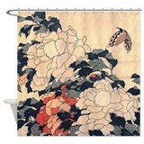 Hokusai Peonies and Butterfly Shower Curtain