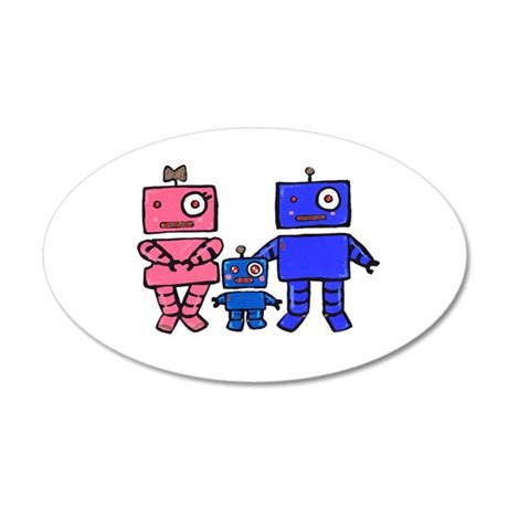 Robot Family 35x21 Oval Wall Decal