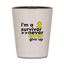 Never Give Up Sarcoma Cancer Shot Glass