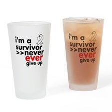 Never Give Up Lung Cancer Drinking Glass