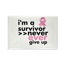 Never Give Up Breast Cancer Rectangle Magnet