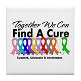 Together We Can Find A Cure Tile Coaster