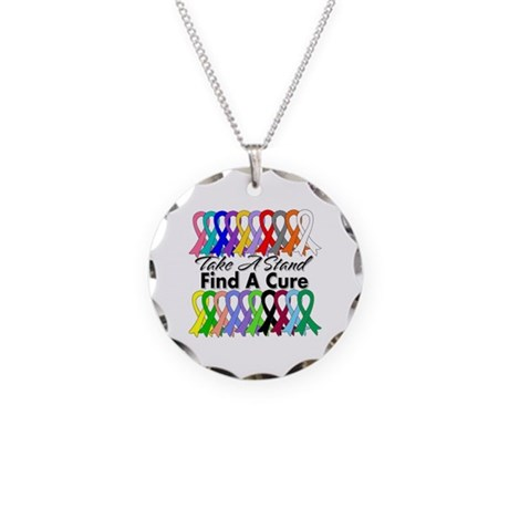 Take A Stand Find A Cure Necklace Circle Charm