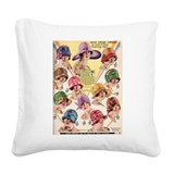 Flapper Hats Square Canvas Pillow