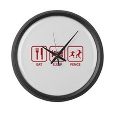 Eat Sleep Fence Large Wall Clock