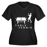 table tennis Women's Plus Size V-Neck Dark T-Shirt