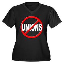 Anti / No Unions Women's Plus Size V-Neck Dark T-S