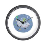 Little Green Alien Wall Clock