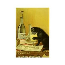 Absinthe Bourgeois Chat Noir Rectangle Magnet