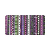 Pink and Purple Tribal Pattern Aluminum License Pl