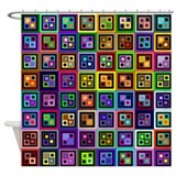 Boxes and Dots Shower Curtain