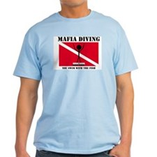 Italian Mafia Mob love diving gifts Ash Grey T-Shi