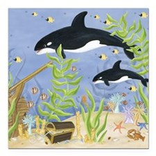 "Killer Whale Square Car Magnet 3"" x 3"""