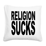 religionsucksblk.png Square Canvas Pillow