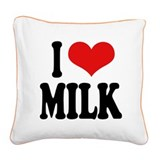 ilovemilkblk.png Square Canvas Pillow