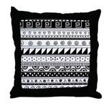 Black and White Tribal Stripes pattern Throw Pillo
