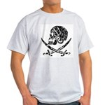 Pirate Skull & Swords (worn) Ash Grey T-Shirt